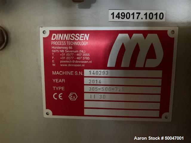 Used-Dinnissen Pegasus twin paddle mixer, type 305-500-7,5. Stainless steel construction. Capacity 17.65 cu.ft/132 gallon (5...