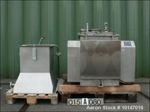 "Used-Forberg Paddle Mixer, Type F-60. Double shaft, 316 stainless steel, capacity 16 gallon (60 liter), trough 22.5"" x 26.8""..."