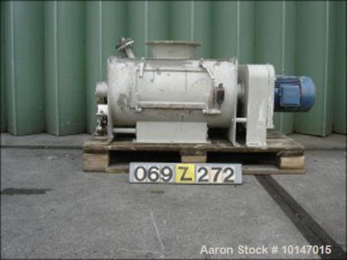 Used-Gericke Paddle Mixer, Type GMS-150. Double shaft, stainless steel, capacity 31.7 gallon (120 liter). Trough diameter 14...