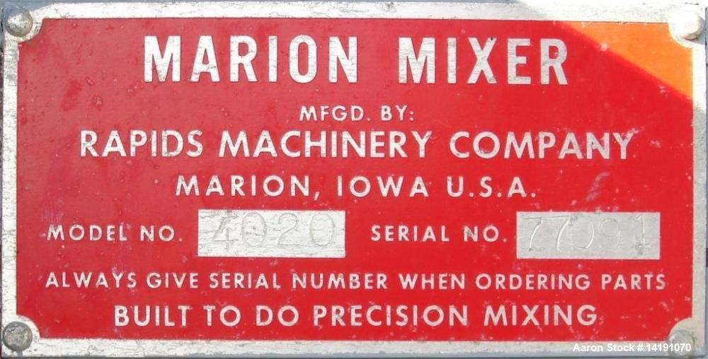 Used- Marion Paddle Blender Batch Mixer, Series 4000, Model 4020.