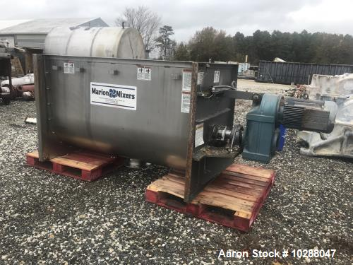 "Used Marion paddle mixer, approx 45 cu ft. Model SPY3672. Stainless steel sanitary construction. 36"" wide X 72"" long X 46"" d..."