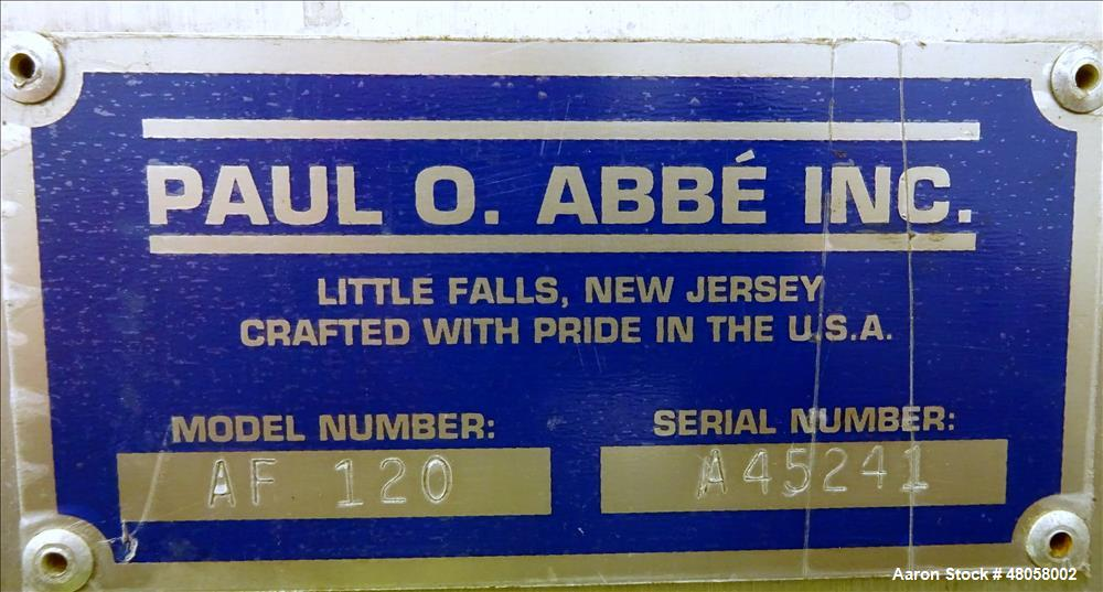 Used- Paul O Abbe Forberg Twin Shaft Paddle Mixer Model AF 120, 4.3 Cubic Feet.