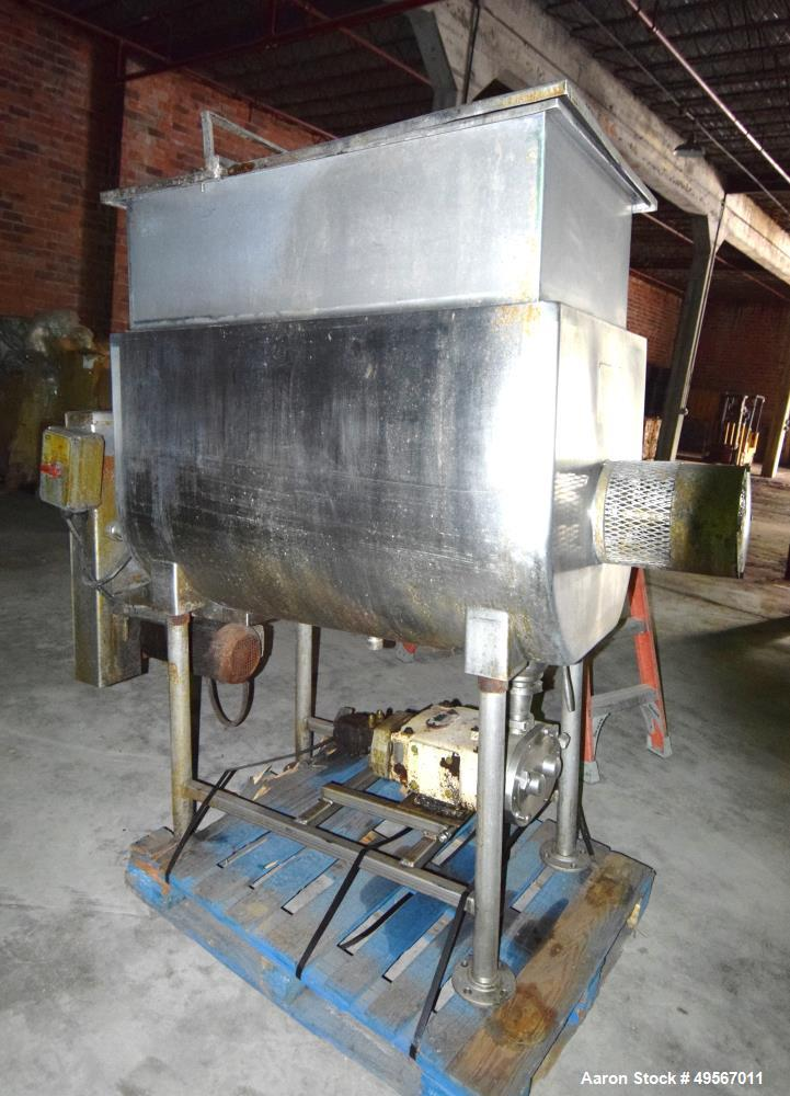 "Used- Will Flow Paddle Blender, Approximately 19 Cubic Feet, Stainless Steel. 28"" Wide x 48"" long x 31"" deep dimple jacketed..."