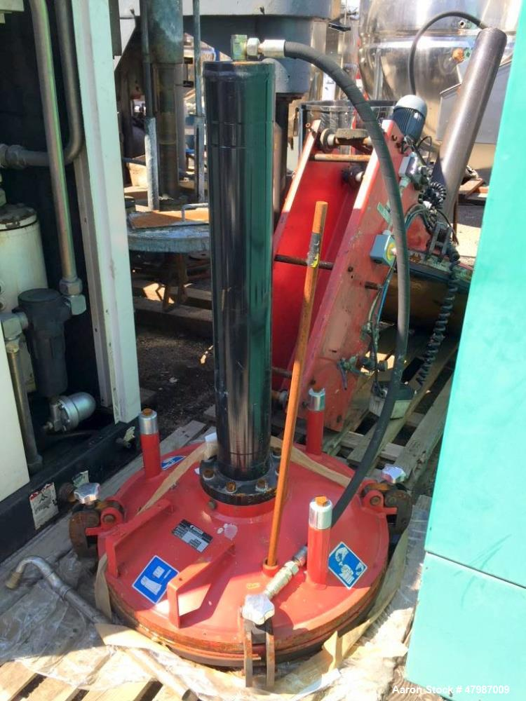 Used- Buhler Removable Head Type Press-Out Unit. Designed to accept approximate 813mm diameter mixing tanks. This unit inclu...