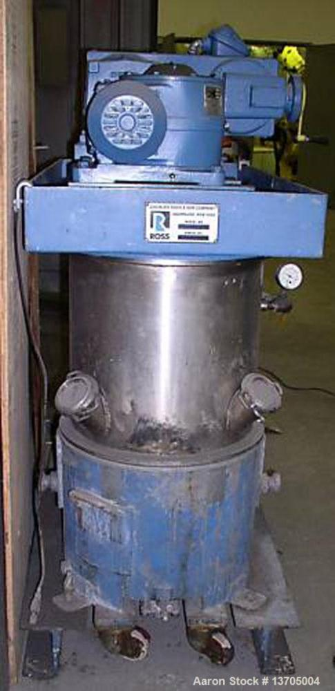 Used-Ross Model HDM-10 vacuum jacketed double planetary mixer. 10 gallon capacity, stainless steel construction, stainless s...