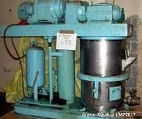 Used-Ross 25 gallon double planetary mixer, model HDM-25. Stainless steel contact parts, change can style with air/oil lift....
