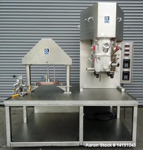 Used-Ross Dual Shaft 4 Gallon Vacuum Stainless Steel Planetary Mixer and High Speed Disperser, Model PDM-DS-4 (Powermix).  U...