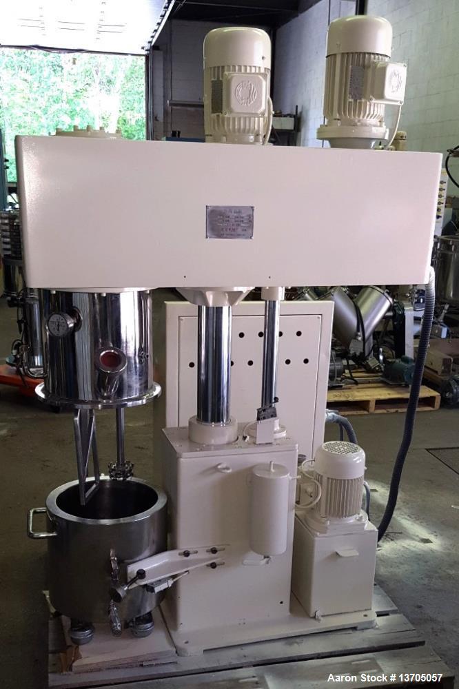 Used- 15 Liter Hongyun Vacuum, Jacketed Double Planetary PowerMixer, Stainless Steel Model DLH-15. 15 Liter working capacity...