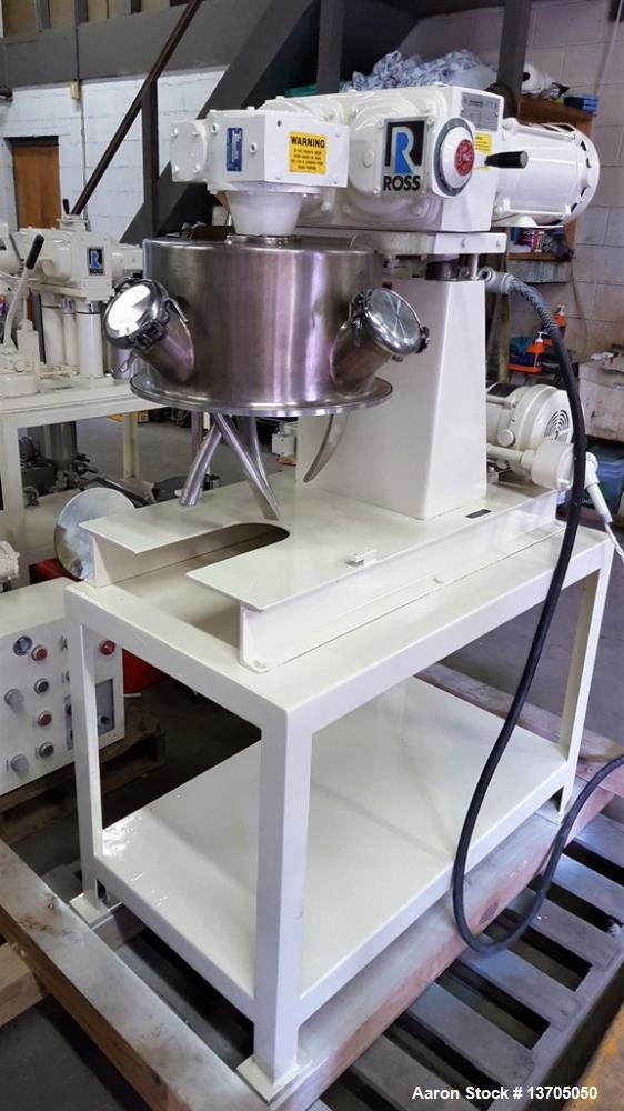 Used- Ross, 4 Gallon, Model LDM-4 Jacketed, Vacuum, Double Planetary Mixer. Stainless steel construction, 1 quart to 4 gallo...