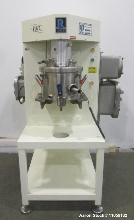 Used- Ross VMC-2 Triple Shaft (tri-shaft) Versamixer Mixer. 316 stainless steel construction. Vacuum capable. 2 gallon jacke...