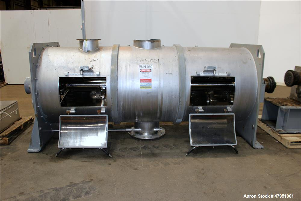 Used- Littleford 3000-Liter Horizontal Cylindrical Batch Mixer, Model FKM-3000-D