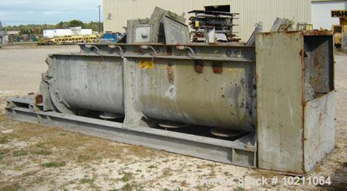"Used-J.C. Steele & Sons Model 300G Pug Mill and Drive. Tub dimensions are 35"" inside width X approximately 12' mixing length..."