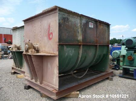 "Used- Double Ribbon Mixer. Approximately 360 cubic foot  driven by a 50 hp motor. Has 66"" x 180"" long x 67"" deep chamber dir..."