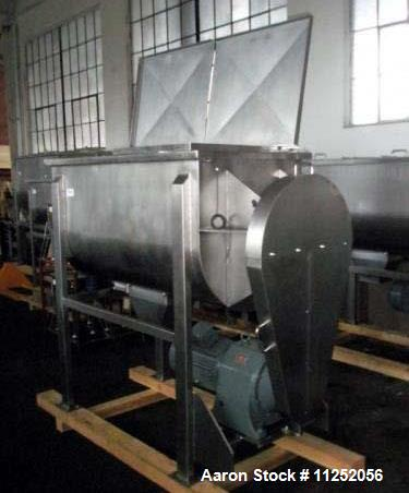 """Unused- New Double Ribbon Mixer. 35 cubic foot working capacity, heavy duty, polished 304 stainless steel contacts. 64"""" long..."""