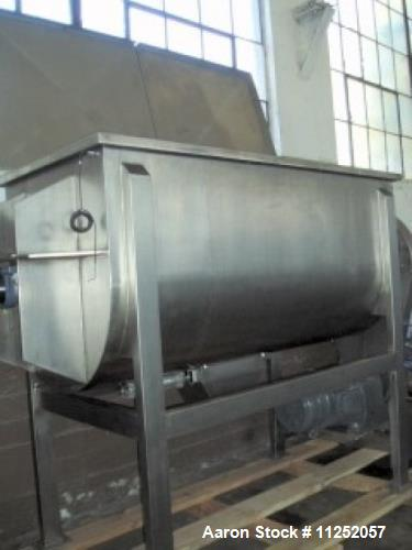 Unused- New Double Ribbon Mixer. 50 cubic foot working capacity, heavy duty model, polished 304 stainless steel contacts. Tr...
