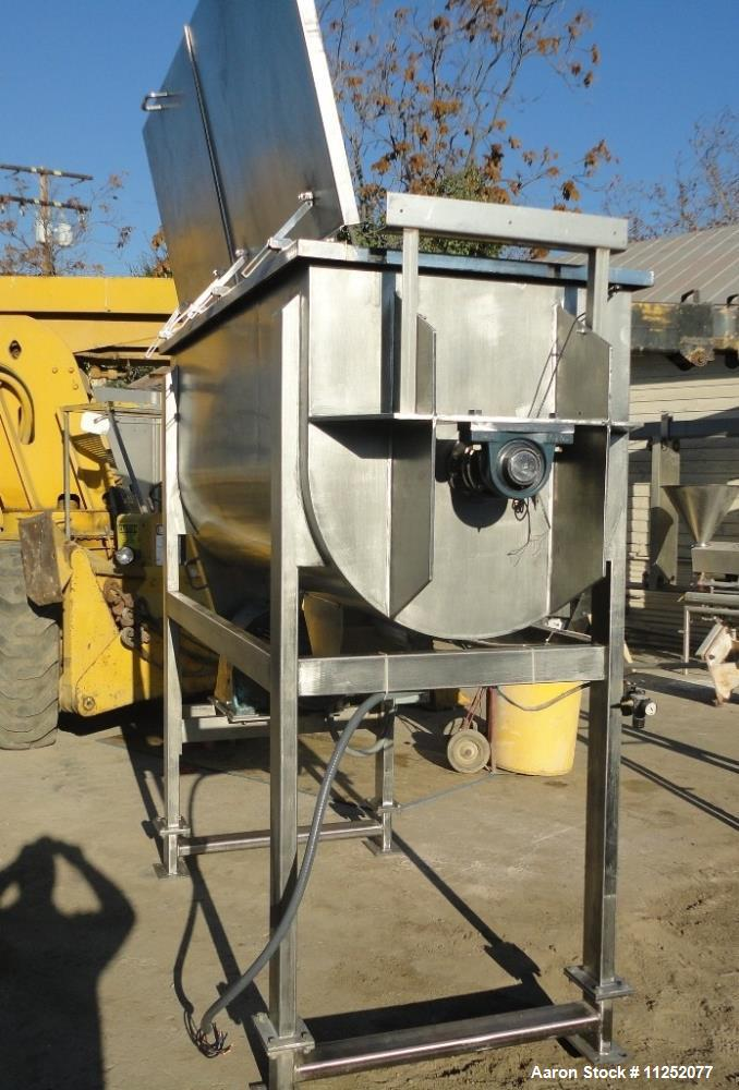 Used- Stainless Steel Double Ribbon Mixer. 50 cubic foot working capacity, polished 304 stainless steel contacts, trough mea...