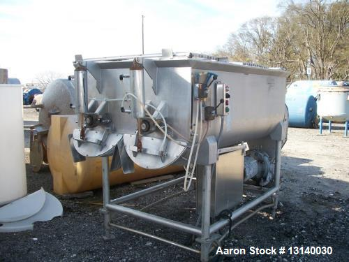 """Used- Ribbon Mixer, approximately 50 Cubic Feet.  Twin shaft, stainless steel. Trough measures 52"""" wide x 84"""" long x 34"""" dee..."""