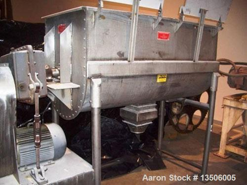 Unused- Stricklin 34 CF double ribbon blender, stainless steel.  Equipped with Dual Hinged Lids. Interior Chamber Dimensions...
