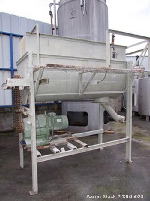 Used- Ribbon blender, carbon steel, working capacity 24.7 cubic feet (700 liters), total capacity 46 cubic feet (1300 liter)...