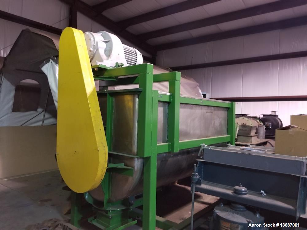 Used- 100 Cubic Foot Double Spiral Ribbon Mixer, Stainless Steel.