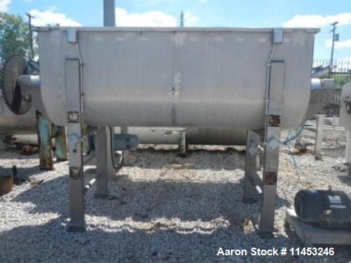 Used- A&M Process Double Spiral Ribbon Blender, Model RB1000. Approximate 100 Cubic Foot Working Capacity, Stainless Steel. ...