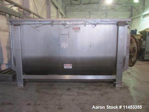 "Used- 400 Cubic Foot Aaron Process Ribbon Blender, Model IMB400. Sanitary stainless steel construction, approximately 74"" wi..."