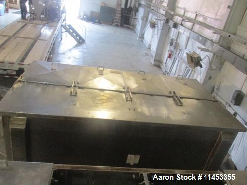 """Used- 400 Cubic Foot Aaron Process Ribbon Blender, Model IMB400. Sanitary stainless steel construction, approximately 74"""" wi..."""