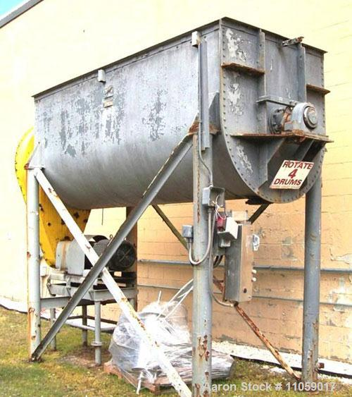 "Used-Aaron 200 Cubic Foot Stainless Steel Ribbon Blender.Trough is approximately 53"" wide x 146"" long x 64"" deep, 40 hp moto..."