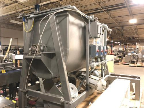 "Used- 87 Cu.Ft. Bepex Ribbon Blender with Choppers. Stainless steel. Model IMXS-87. Trough is 8'3"" lgth. x 3'8"" wide x 4' de..."