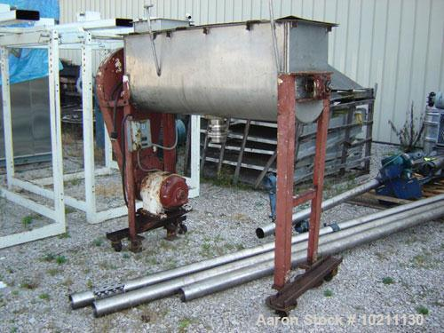 Used-15 Cubic Foot Stainless Steel Double Ribbon Blender manufactured by International Process Equipment (IPC).  5 hp motor,...