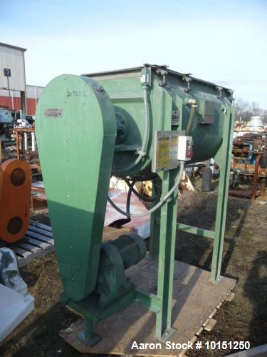 Used- JH Day Double Spiral Ribbon Blender, 10 Cubic Foot, Stainless Steel. Dimple jacketed trough rated 80 PSI at 324 Degree...