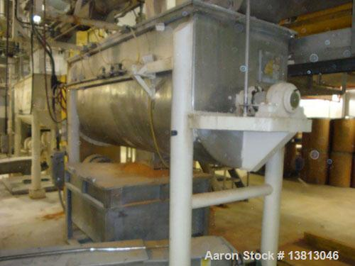 """Used-J H Day 60 Cubic Foot Stainless Ribbon Blender. 30 hp with stainless steel contact surface. 9' long x 44"""" wide x 26"""" de..."""