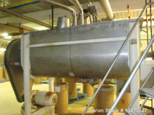 """Used-J H Day 50 Cubic Foot Stainless Ribbon Blender. 20 hp with stainless steel contact surface. 9' long x 44"""" wide x 26"""" de..."""