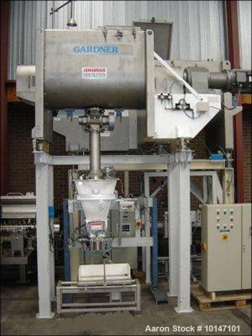 Used-Kemutec Gardner Ribbon Blender, Type HE-750, Stainless Steel construction.  Capacity 26.5 cubic feet (750 litre), troug...