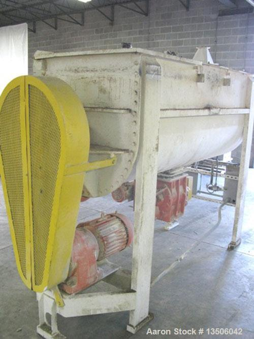 """Used-Lowe Carbon Steel Double Ribbon Blender, 55 Cubic Feet.Trough measures 90"""" long x 33-1/2"""" wide x 38"""" deep.Driven by a 2..."""
