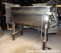 "Used- Double Spiral Ribbon Blender, Approximately 37 Cubic Feet, Stainless Steel. Non-jacketed trough 32"" wide x 72"" long x ..."