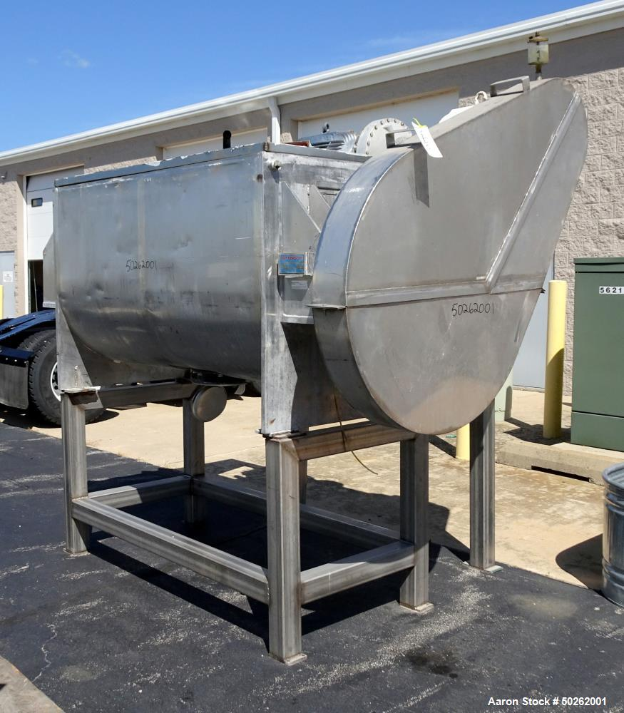 Used- Patterson Double Spiral Ribbon Blender, Approximate 40 Cubic Foot