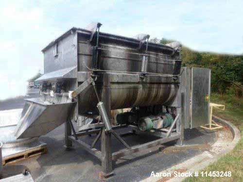 Used- Stainless Steel Rietz Twin Shaft Ribbon Blender, Model RS40-K-3410, 250 cubic feet