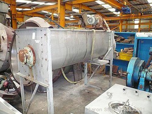 Used- Rouselle 800 ribbon mixer, stainless steel, 28.3 cubic feet (800 liters) working capacity, 38.9 (1100 liters) total vo...