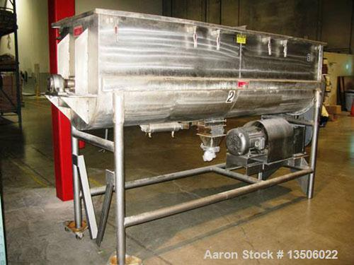 "Used-Stricklin 56 Cubic Foot Double Ribbon Blender, stainless steel food grade. Trough measures 10' long x 30"" wide x 35 1/2..."