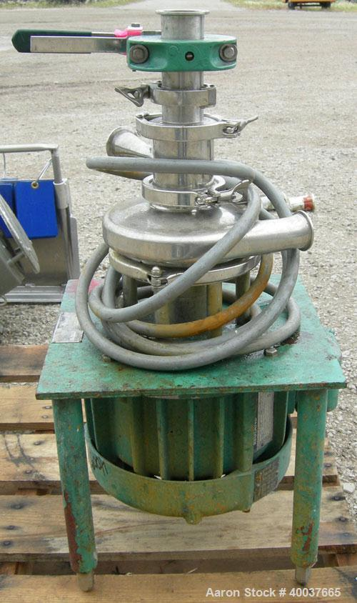 "Used- Tri Clover Tri Blender, Model F2116MD-B40, 316 Stainless Steel. Approximately 4-1/2"" diameter x 1-1/2"" high impeller. ..."