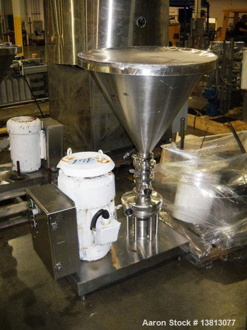 Used-Tri-Clover TriBlender, 15 hp, mounted on stainless steel base.  Includes funnel, 240/480 VAC, 60 Hz.