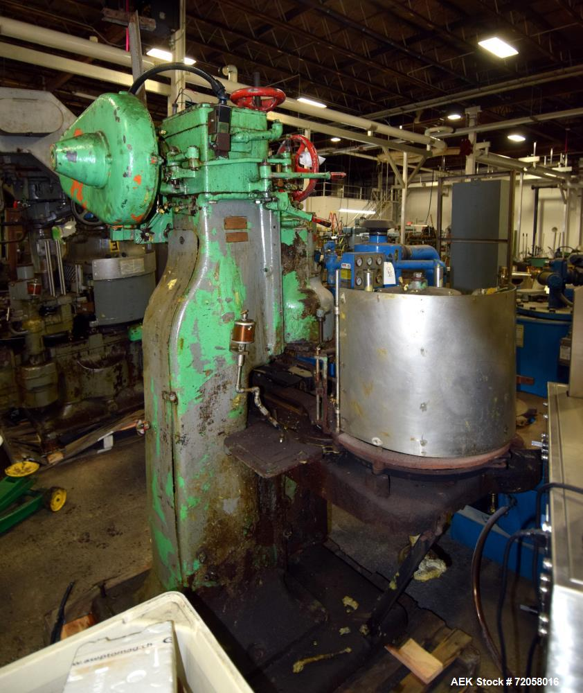 Used- American Can Single Head Can Closing Machine, Model 08SF. Set up for 603x700 cans, disc infeed with topper, steam flow...