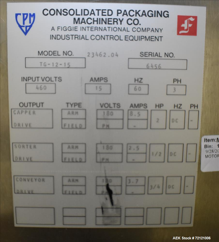 Used- Consolidated Model TG-12-15 High Speed Rotary Chuck Capper