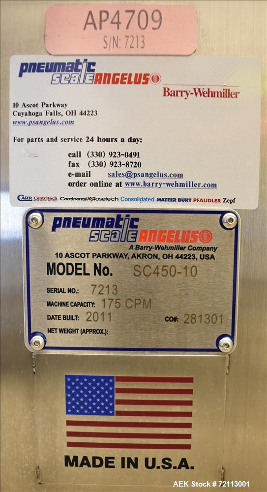 Used- Pneumatic Scale Angelus 10-Head Rotary Chuck Capper, Model SC 450-10