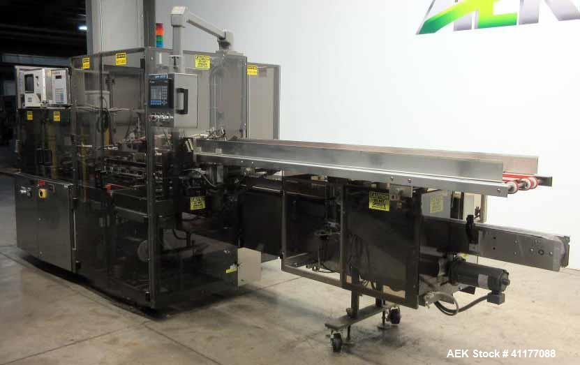 Used- MGS HIS-600 Bottle Automatic Cartoner with Bottle Loader up to 60 CPM Reve