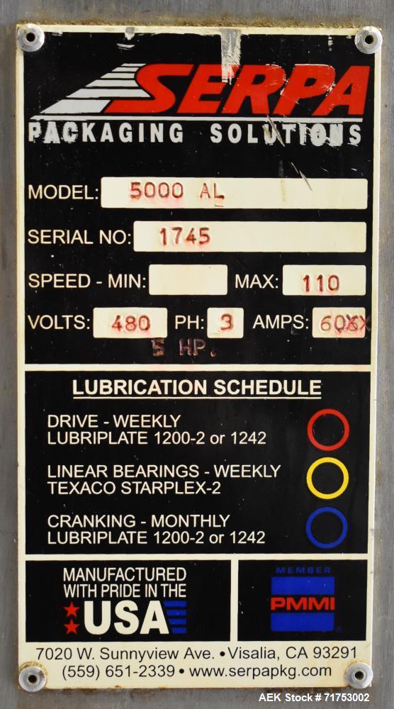 Used- Serpa Model 5000AL Automatic Horizontal Cartoner with Glue Flap Closure