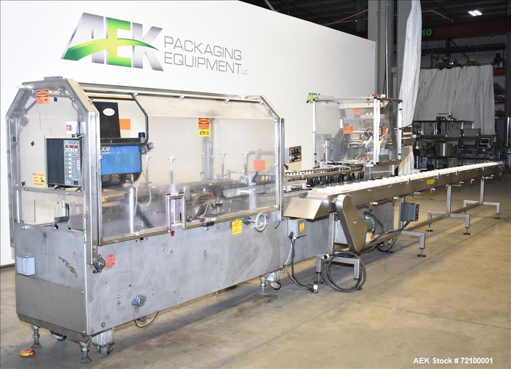 Used-Adco 15D105-SS Stainless Steel Horizontal Load Semi Automatic Cartoner. Machine is capable of speeds up to 125 cartons ...