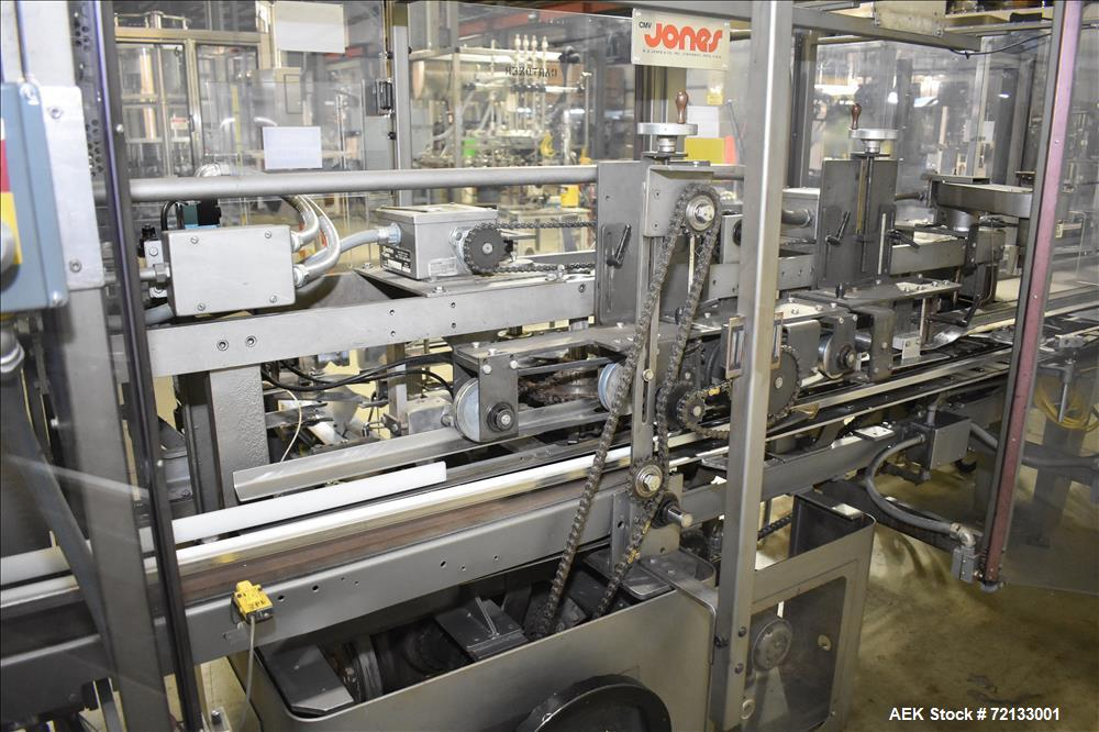 Used-Jones Model CMV-5 Semi- Automatic Vertical Tuck Cartoner with optional bottle loader. Capable of speeds up to 120 carto...