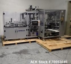 Used Skinetta top loading case erector packer, model CP 150, servo driven loading head, with powered...